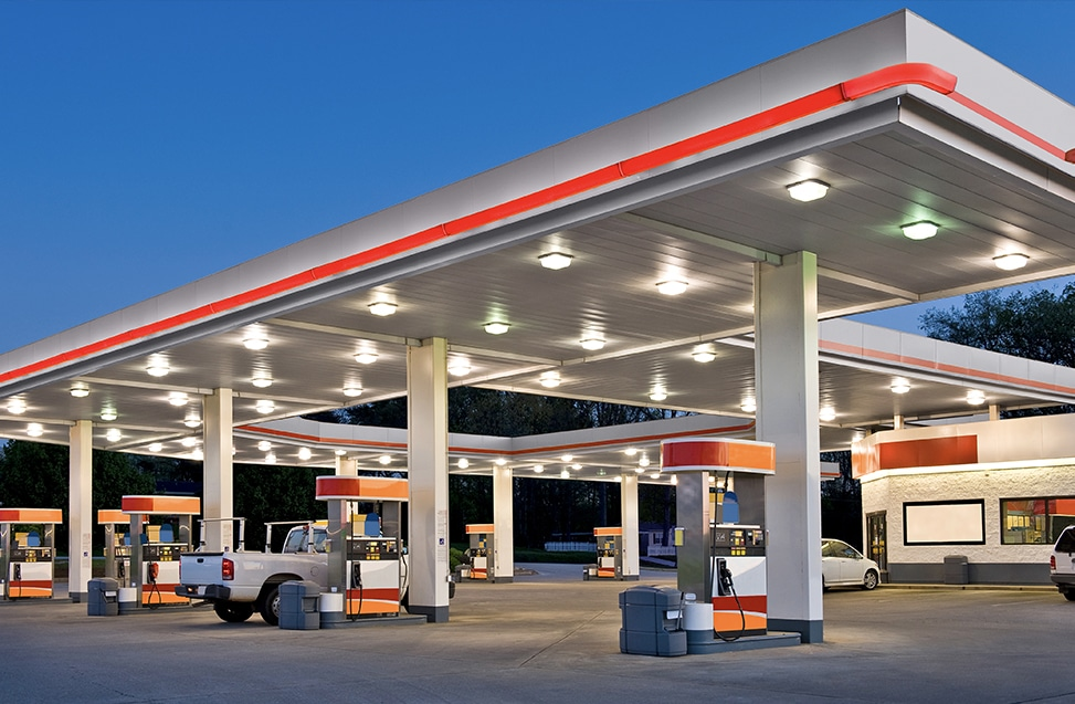Convenience store and gas station, representing cash transactions secured by Tidel Smart Safes.