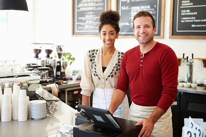 Image of Clerks and Cash Register at Coffee Shop
