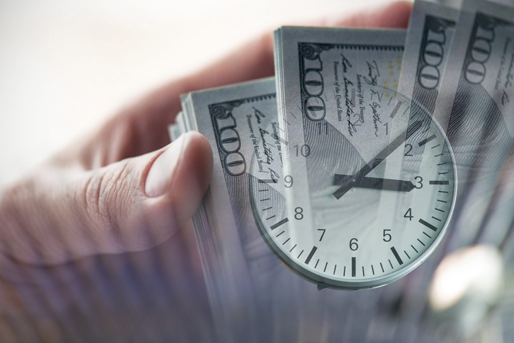 Image of Cash and Clock Representing Faster Access to Capital